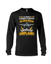 PILOT AVIATION GIFT - BEER AND AIRPLANES Long Sleeve Tee thumbnail