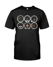 AVIATION PILOT GIFT - AIRPLANE BASIC INSTRUMENTS Classic T-Shirt front