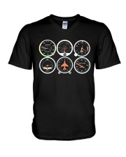 AVIATION PILOT GIFT - AIRPLANE BASIC INSTRUMENTS V-Neck T-Shirt tile