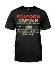 PONTOON BOAT GIFTS - CAPTAIN KNOWS EVERYTHING Classic T-Shirt front