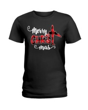 AVIATION PILOT GIFT - MERRY CHRISTMAS Ladies T-Shirt tile