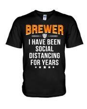 BREWER I HAVE BEEN SOCIAL DISTANCING FOR YEARS V-Neck T-Shirt thumbnail