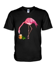 TRULY DRINK - FLAMINGO WITH BEER V-Neck T-Shirt thumbnail