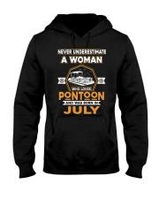 PONTOON BOAT GIFT - JULY PONTOON WOMAN Hooded Sweatshirt thumbnail