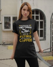 PILOT GIFTS - FLYING AND COFFEE Classic T-Shirt apparel-classic-tshirt-lifestyle-19