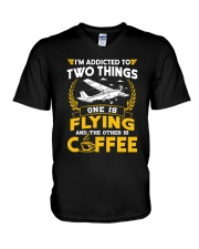 PILOT GIFTS - FLYING AND COFFEE V-Neck T-Shirt tile