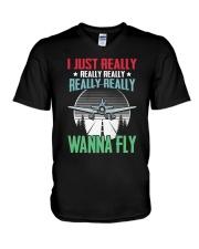 GREAT GIFT FOR PILOT - WANNA FLY V-Neck T-Shirt thumbnail