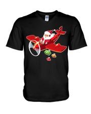 MERRY PILOT CHRISTMAS - SANTA IS COMING V-Neck T-Shirt thumbnail
