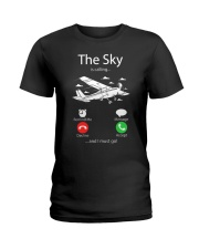 AIRLINE PILOT GIFTS - SKY IS CALLING Ladies T-Shirt thumbnail
