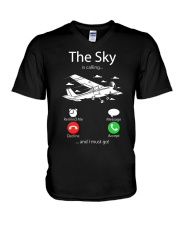 AIRLINE PILOT GIFTS - SKY IS CALLING V-Neck T-Shirt thumbnail