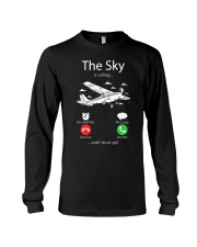 AIRLINE PILOT GIFTS - SKY IS CALLING Long Sleeve Tee thumbnail