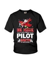 PILOT GIFT - SANTA IS WATCHING Youth T-Shirt thumbnail