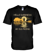 RETRO BEER - HELLO DARKNESS MY OLD FRIEND V-Neck T-Shirt thumbnail