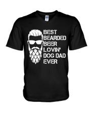 BEER LOVER - BEST BEARDED BEER LOVING DOG DAD EVER V-Neck T-Shirt thumbnail