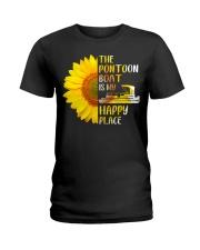 PONTOON BOAT GIFT - HAPPY PLACE Ladies T-Shirt thumbnail