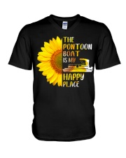 PONTOON BOAT GIFT - HAPPY PLACE V-Neck T-Shirt thumbnail