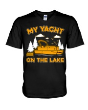 PONTOON BOAT GIFT - MY YACHT ON THE LAKE V-Neck T-Shirt tile