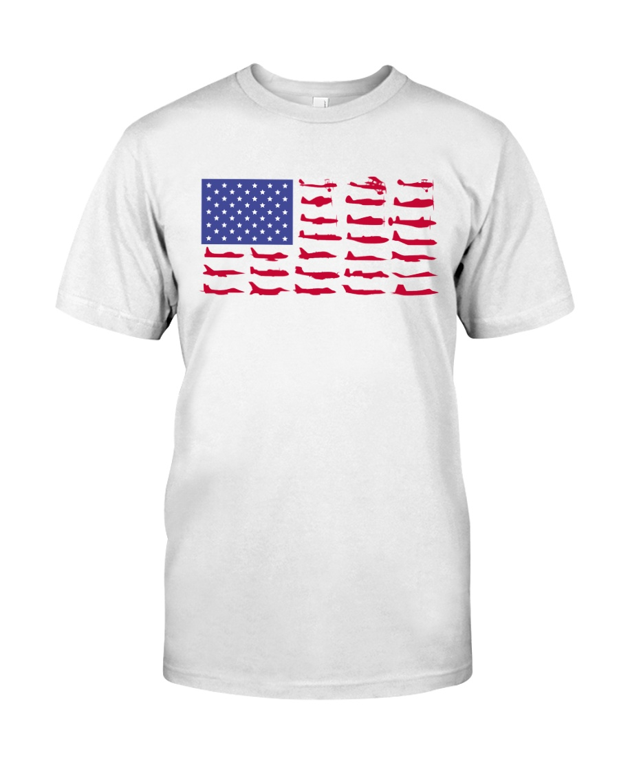 PILOT GIFT - AIRCRAFT AMERICAN FLAG Classic T-Shirt