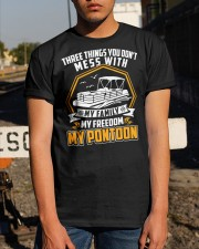 PONTOON BOAT GIFT - FAMILY FREEDOM AND PONTOON Classic T-Shirt apparel-classic-tshirt-lifestyle-29