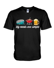 BONFIRE AND BEER - SIMPLE NEEDS V-Neck T-Shirt tile