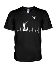 DUCK HUNTING HEARTBEAT V-Neck T-Shirt thumbnail