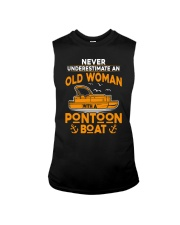 NEVER UNDERESTIMATE AN OLD WOMAN WITH PONTOON BOAT Sleeveless Tee thumbnail
