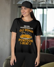 NEVER UNDERESTIMATE AN OLD WOMAN WITH PONTOON BOAT Ladies T-Shirt apparel-ladies-t-shirt-lifestyle-front-07