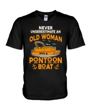 NEVER UNDERESTIMATE AN OLD WOMAN WITH PONTOON BOAT V-Neck T-Shirt thumbnail