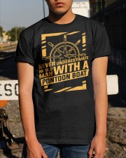 NEVER UNDERESTIMATE AN OLD MAN WITH A PONTOON BOAT Classic T-Shirt apparel-classic-tshirt-lifestyle-29