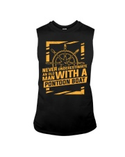 NEVER UNDERESTIMATE AN OLD MAN WITH A PONTOON BOAT Sleeveless Tee thumbnail