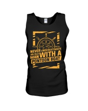 NEVER UNDERESTIMATE AN OLD MAN WITH A PONTOON BOAT Unisex Tank thumbnail