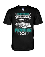 PONTOON BOAT GIFT - I DON'T NEED THERAPY V-Neck T-Shirt thumbnail