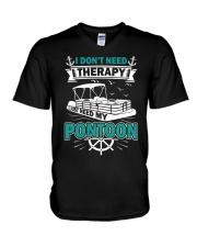 PONTOON BOAT GIFT - I DON'T NEED THERAPY V-Neck T-Shirt thumbnail