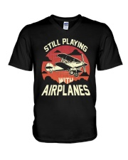 PILOT GIFT - PLAYING WITH AIRPLANES V-Neck T-Shirt thumbnail