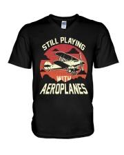 PILOT AVIATION - STILL PLAYING WITH AEROPLANES V-Neck T-Shirt thumbnail