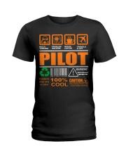 AIRPLANE GIFTS - LABEL DIRECTION WARNING Ladies T-Shirt thumbnail