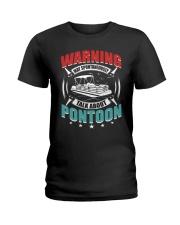 PONTOON BOAT GIFT - WARNING Ladies T-Shirt thumbnail