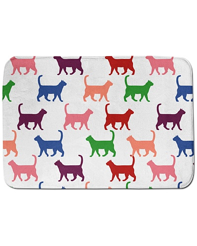 Walking Cat Colourful Bath Mat