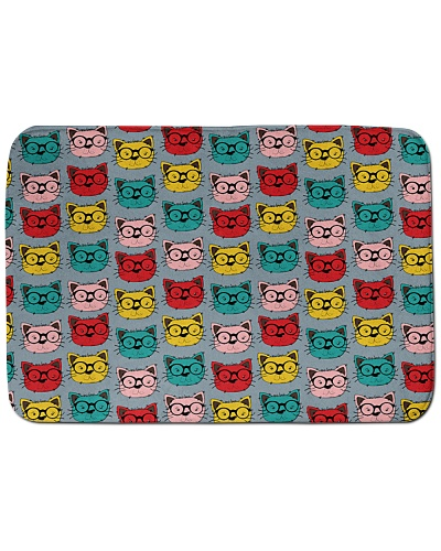 Cute Glasses Cat Bath Mat