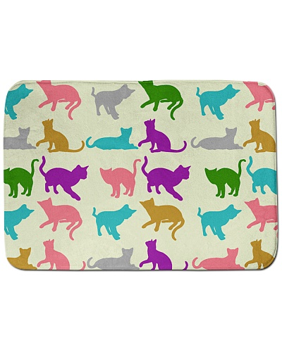 Cat Sleep Jump Play Colourful Bath Mat