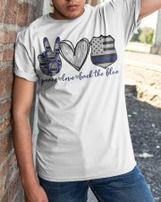 Peace Love Back The Blue Classic T-Shirt apparel-classic-tshirt-lifestyle-27