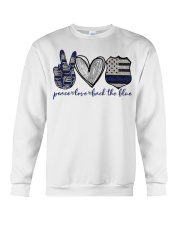Peace Love Back The Blue Crewneck Sweatshirt thumbnail