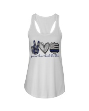 Peace Love Back The Blue Ladies Flowy Tank thumbnail