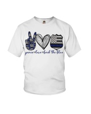 Peace Love Back The Blue Youth T-Shirt thumbnail