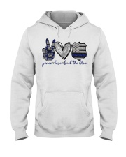 Peace Love Back The Blue Hooded Sweatshirt thumbnail