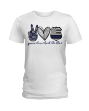 Peace Love Back The Blue Ladies T-Shirt thumbnail