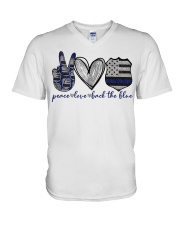 Peace Love Back The Blue V-Neck T-Shirt thumbnail