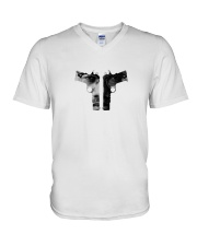 GUNS DOWN - MALCOLM X V-Neck T-Shirt thumbnail