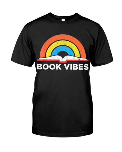 Vintage Retro Book Vibes Rainbow Gift For Reading