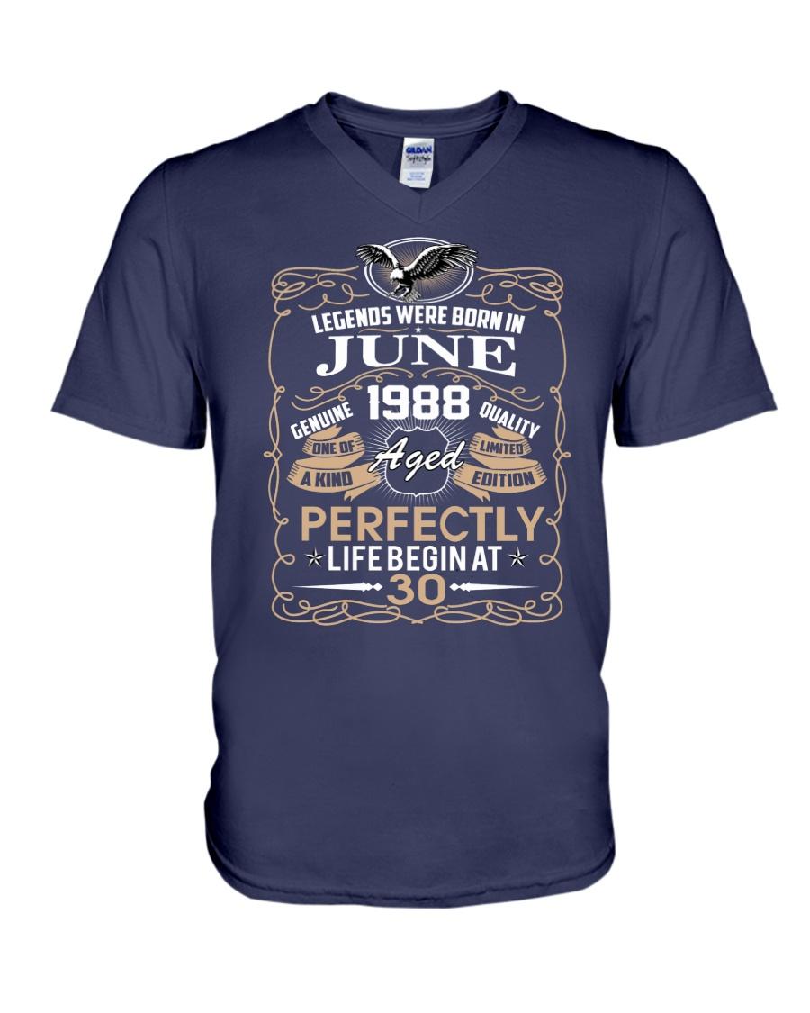 30th Birthday Gift - Legend were born in JUNE V-Neck T-Shirt
